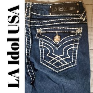 LA Idol Size 7 Dark Wash Embroidered Jeans